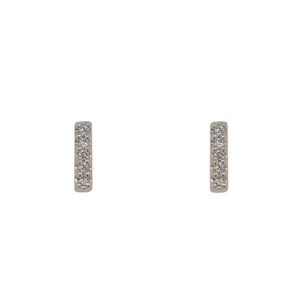 Front view of solid, 14 kt white gold, bar shaped stud earrings with 5 round diamonds in each stud.