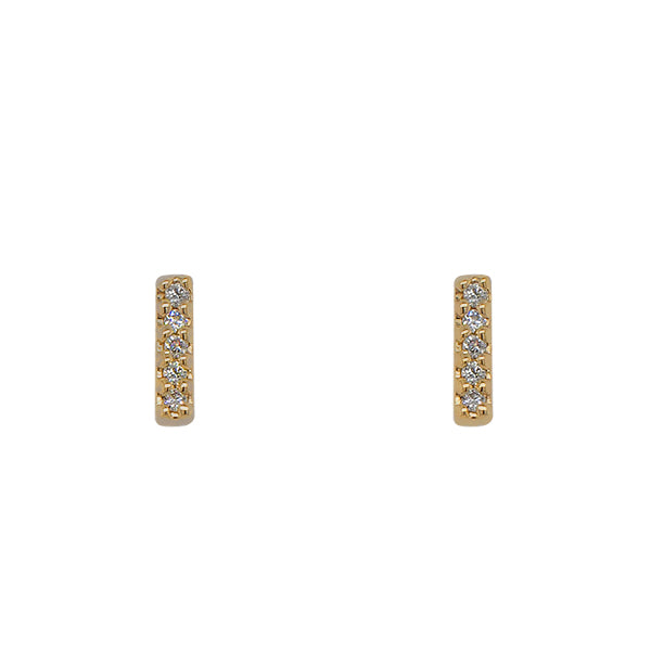 Front view of solid, 14 kt yellow gold, bar shaped stud earrings with 5 round diamonds in each stud.