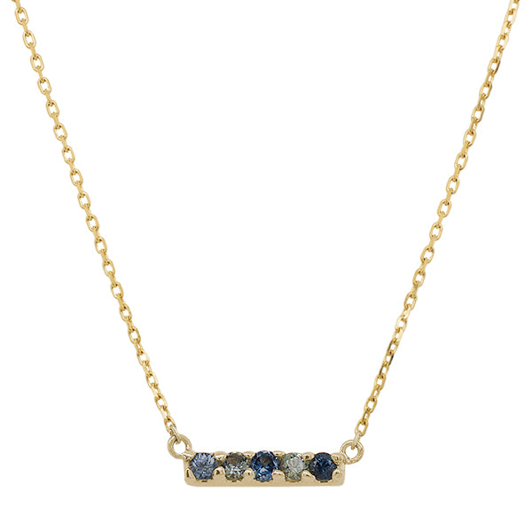 Front view of a solid 14 kt rose gold bar necklace with 5 round cut, cool colored sapphires.
