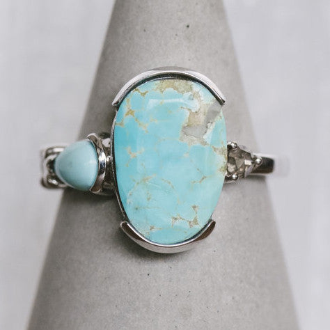 Asymmetrical, Oval Turquoise And Gray Diamond Ring