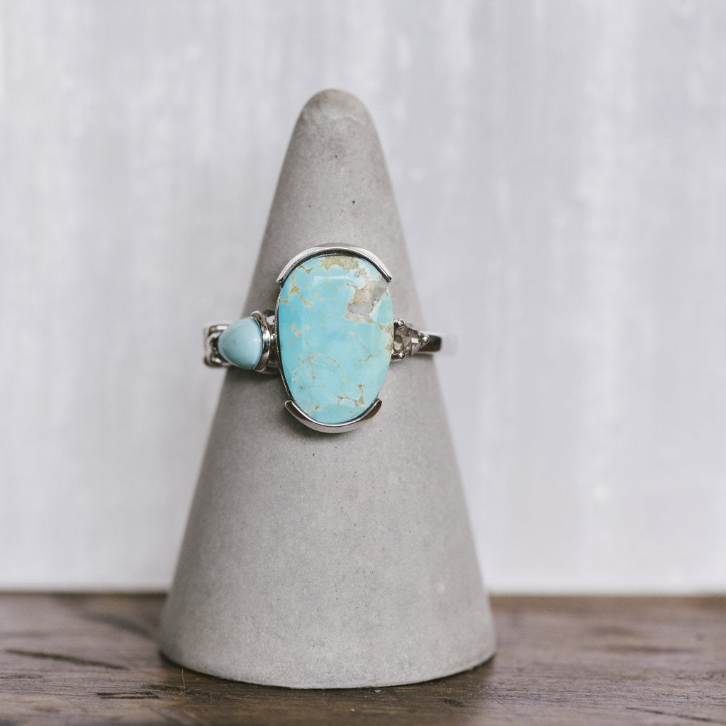 Asymmetrical, Oval Turquoise And Gray Diamond Ring - The Curated Gift Shop