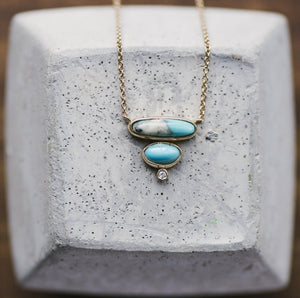 Load image into Gallery viewer, Double Layer Turquoise And Petite Diamond Necklace - The Curated Gift Shop
