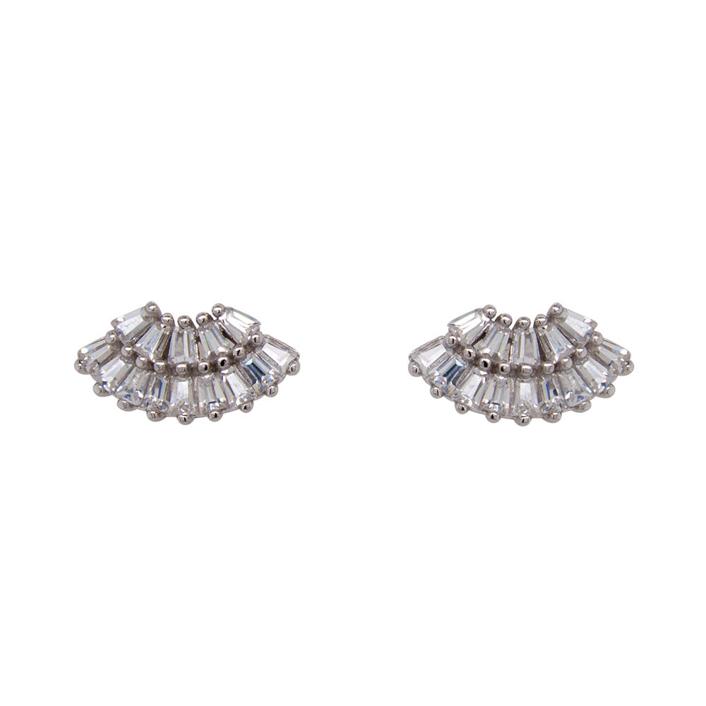 Baguette Crystal Fan Studs - King + Curated