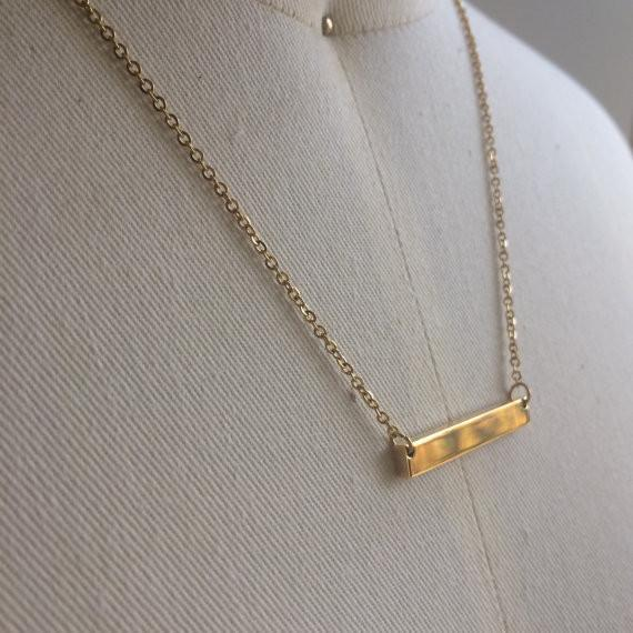 Custom Bar Necklace | Yellow Gold