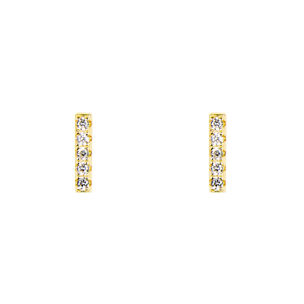 Bar Shaped Studs With Crystals - The Curated Gift Shop
