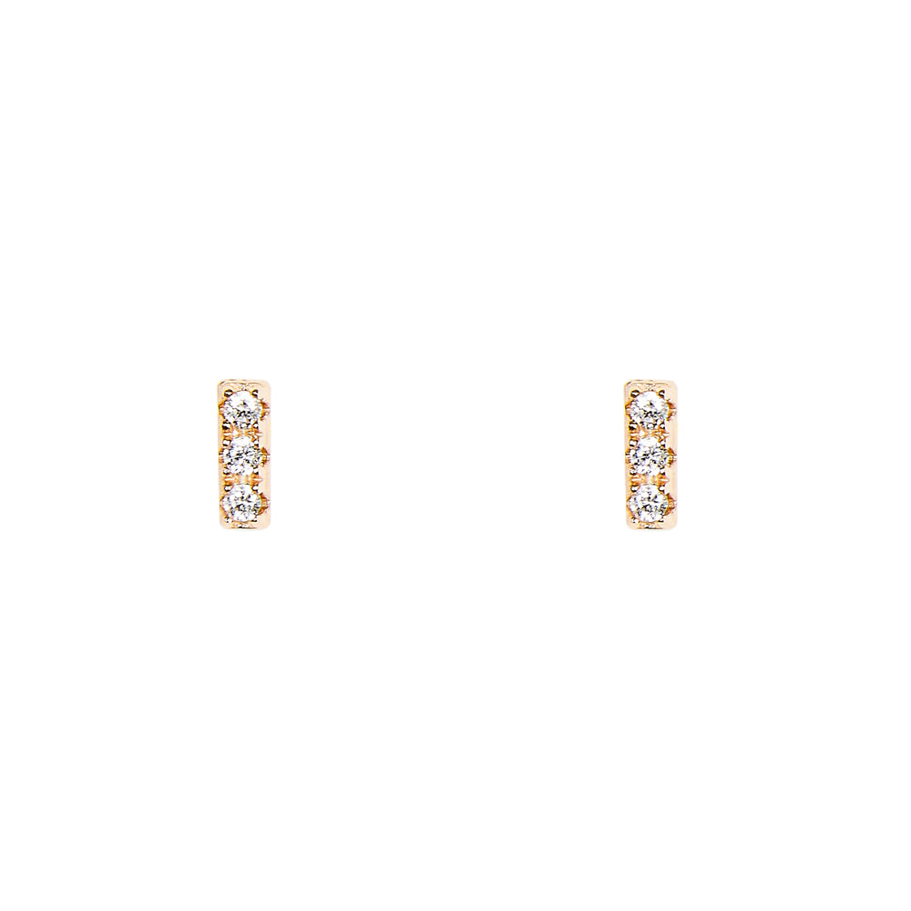 Bar Shaped Studs With Crystals | Tiny - King + Curated