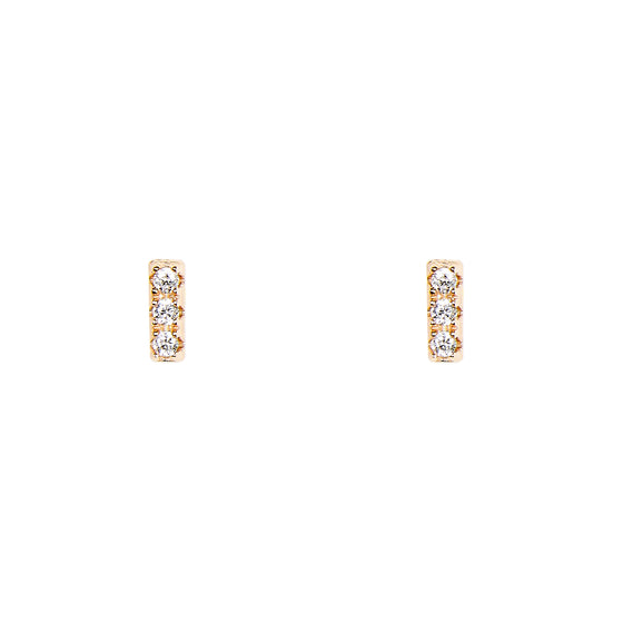 Bar Shaped Studs With Crystals | Tiny