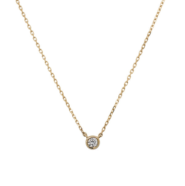 Front view of a bezel set diamond solitaire pendant necklace cast in 14 kt yellow gold.