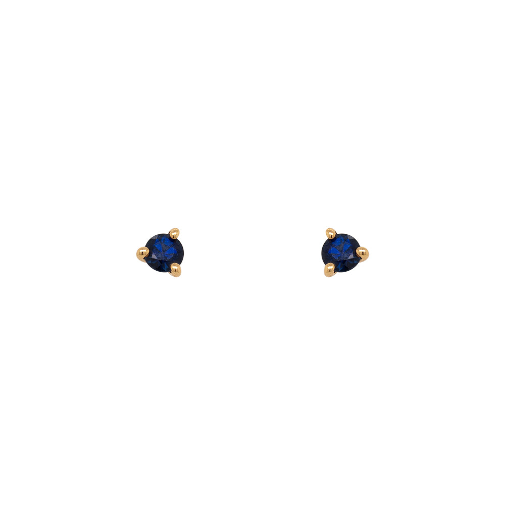 Blue Sapphire Studs | Round - The Curated Gift Shop