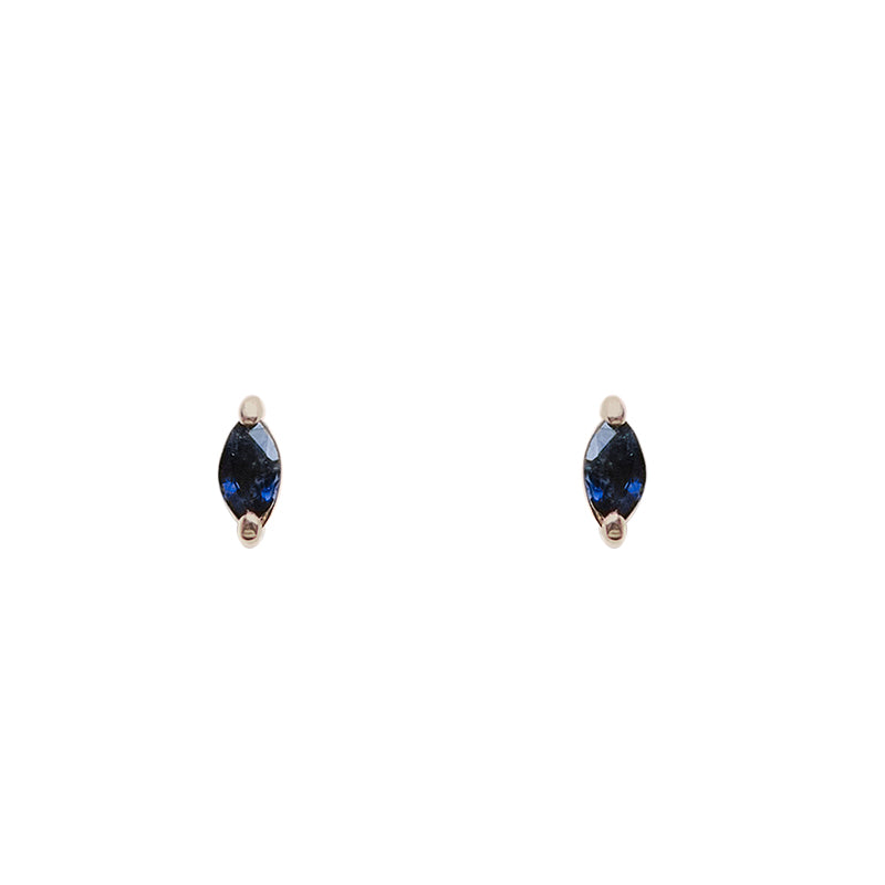 Front view of marquise cut, dark blue sapphire stud earrings set in 14 kt yellow gold two prong settings.