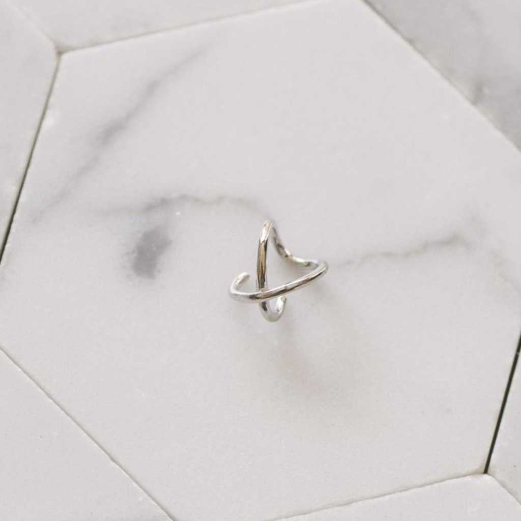 "Modern, Single ""X"" Ear Cuff - The Curated Gift Shop"