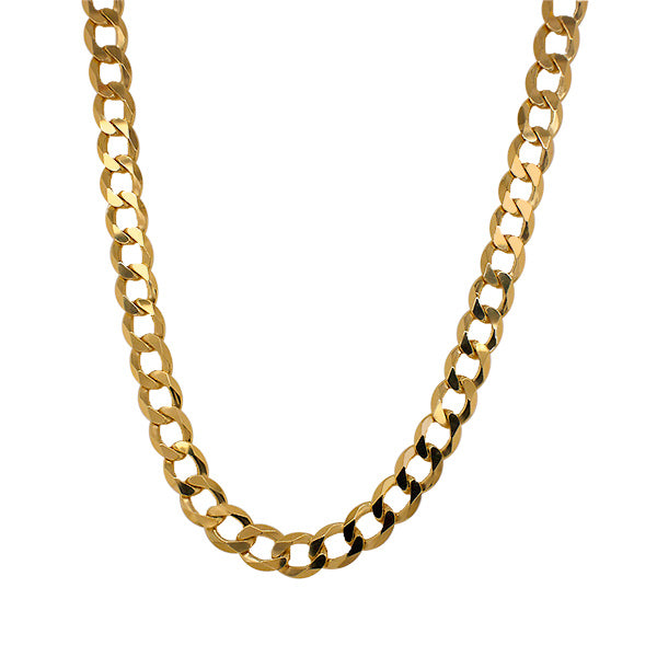 Medium link size choker chain made of solid sterling silver with 14 kt yellow gold vermeil.