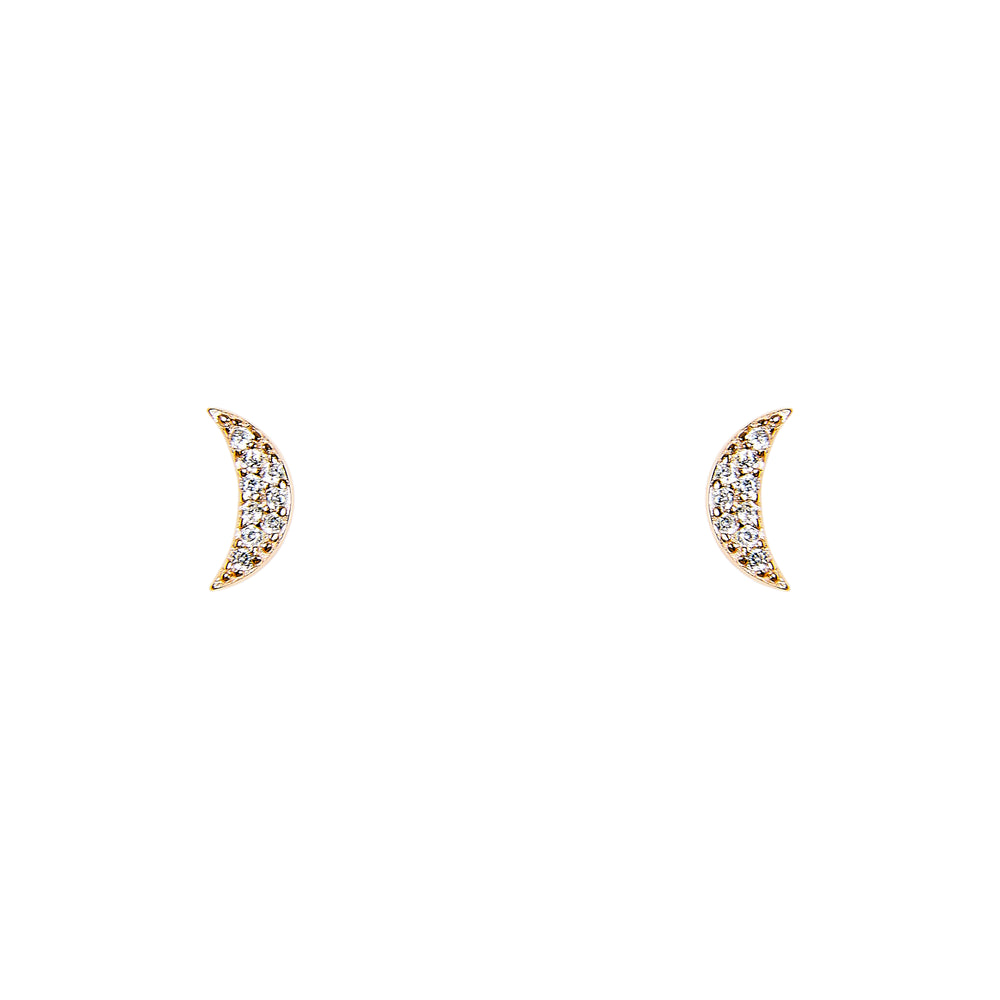 Crescent Moon With Crystals Studs - King + Curated