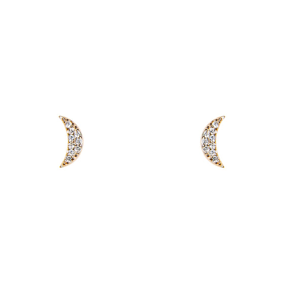 Crescent Moon With Crystals Studs - The Curated Gift Shop