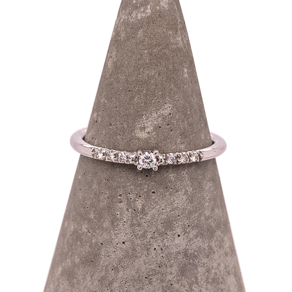 Dainty Single Diamond Ring With Side Pavé Diamonds - The Curated Gift Shop