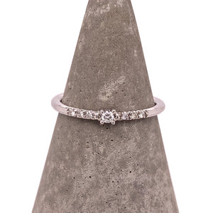Load image into Gallery viewer, Dainty Single Diamond Ring With Side Pavé Diamonds - The Curated Gift Shop