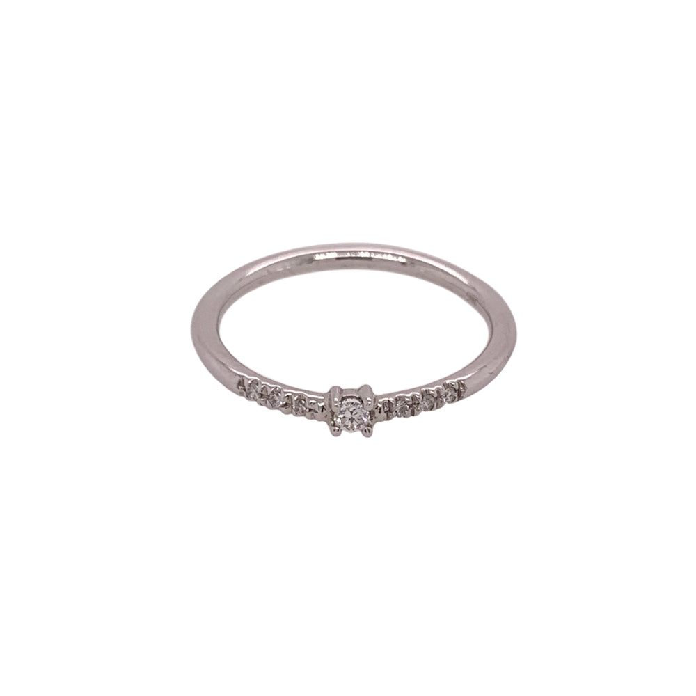 Dainty Single Diamond Ring With Side Pavé Diamonds - King + Curated