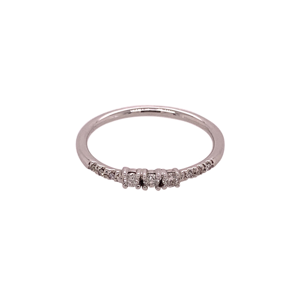 Dainty Triple Diamond Ring With Side Pavé Diamonds - King + Curated