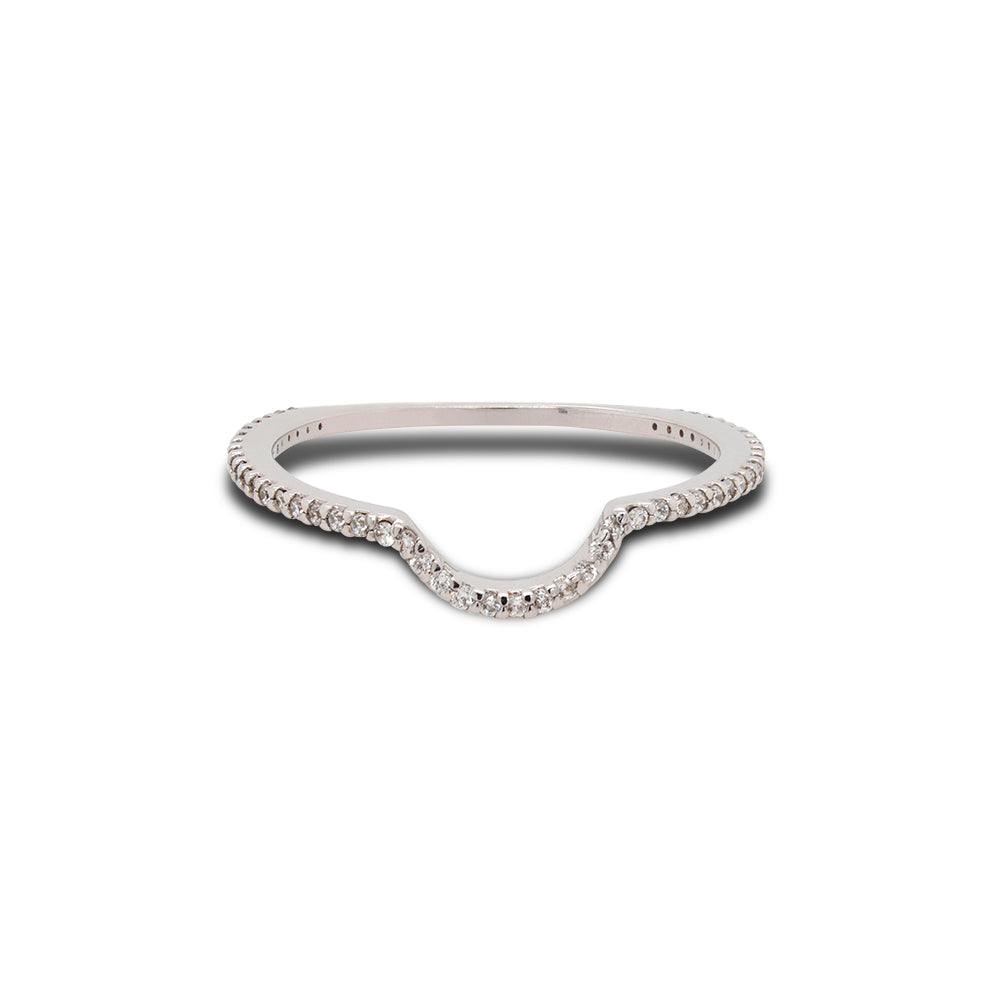Front view of 3/4 eternity diamond shadow band set in 14 kt white gold.