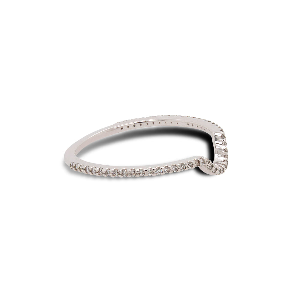 Right view of 3/4 eternity diamond shadow band set in 14 kt white gold.
