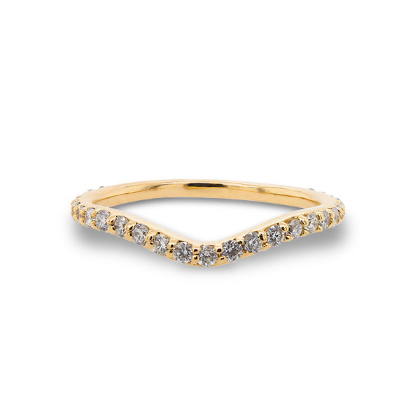 Front view of a shadow band with 27 one and a half mm round diamonds set in 14 kt yellow gold.