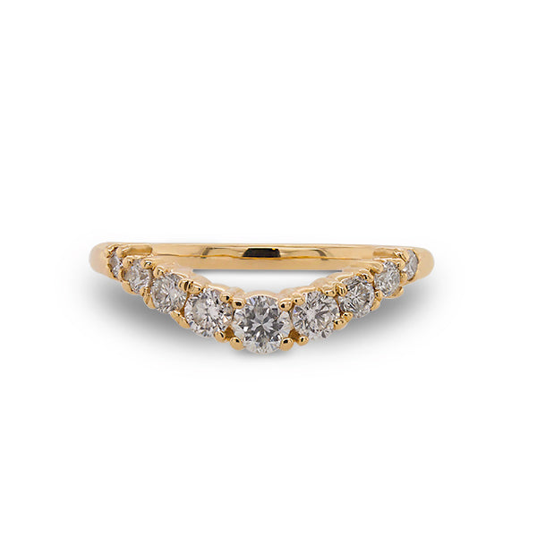 Front view of shadow band with 9 diamonds set in 14 kt yellow gold.