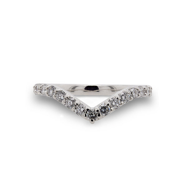 Front view of diamond shadow band with 23 two mm round diamonds set in 14 kt white gold.