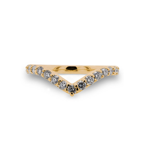 Load image into Gallery viewer, Front view of diamond shadow band with 23 two mm round diamonds set in 14 kt yellow gold.