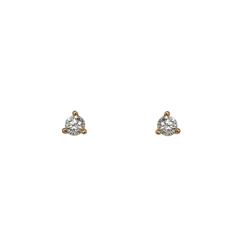 Diamond Stud Earrings | 3 Prong Martini Setting