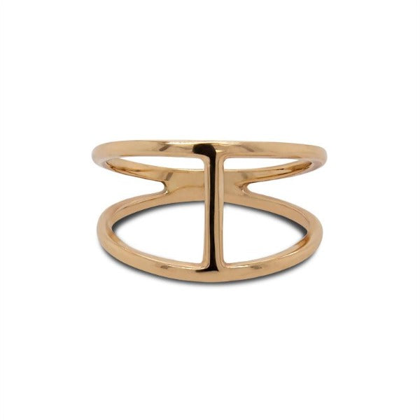 Front view of double band bar ring cast in 14 kt yellow gold.