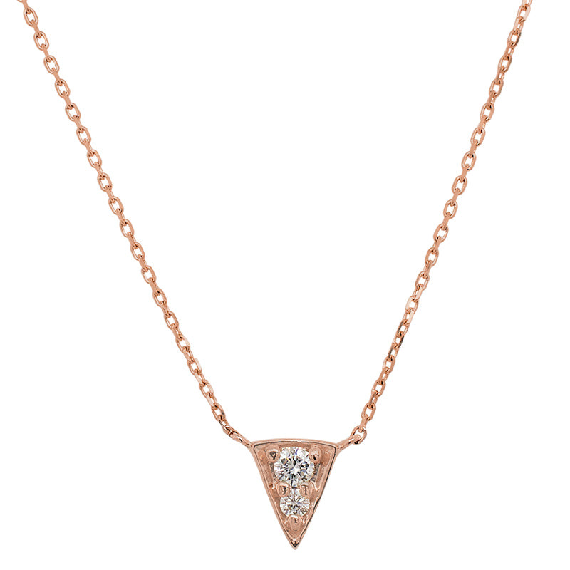 Front view of triangular shaped pendant necklace with 2 vertically set round diamonds cast in 14 kt rose gold.