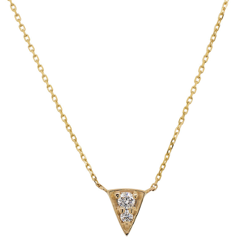 Front view of triangular shaped pendant necklace with 2 vertically set round diamonds cast in 14 kt yellow gold.