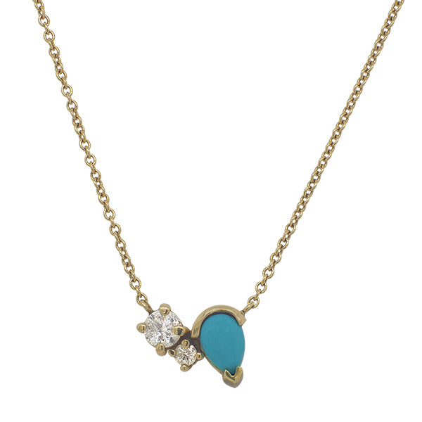 Front view of a necklace featuring two round cut diamonds set to one side of a pear cut turquoise stone set in 14 kt yellow gold.