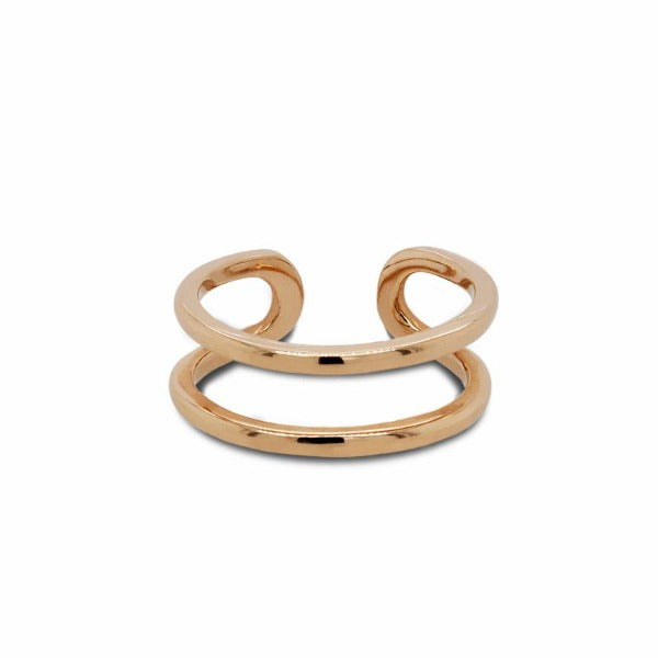 Front view of double midi ring cast in 14 kt yellow gold. - King + Curated