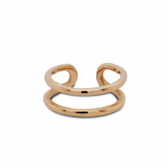 Front view of double midi ring cast in 14 kt yellow gold.