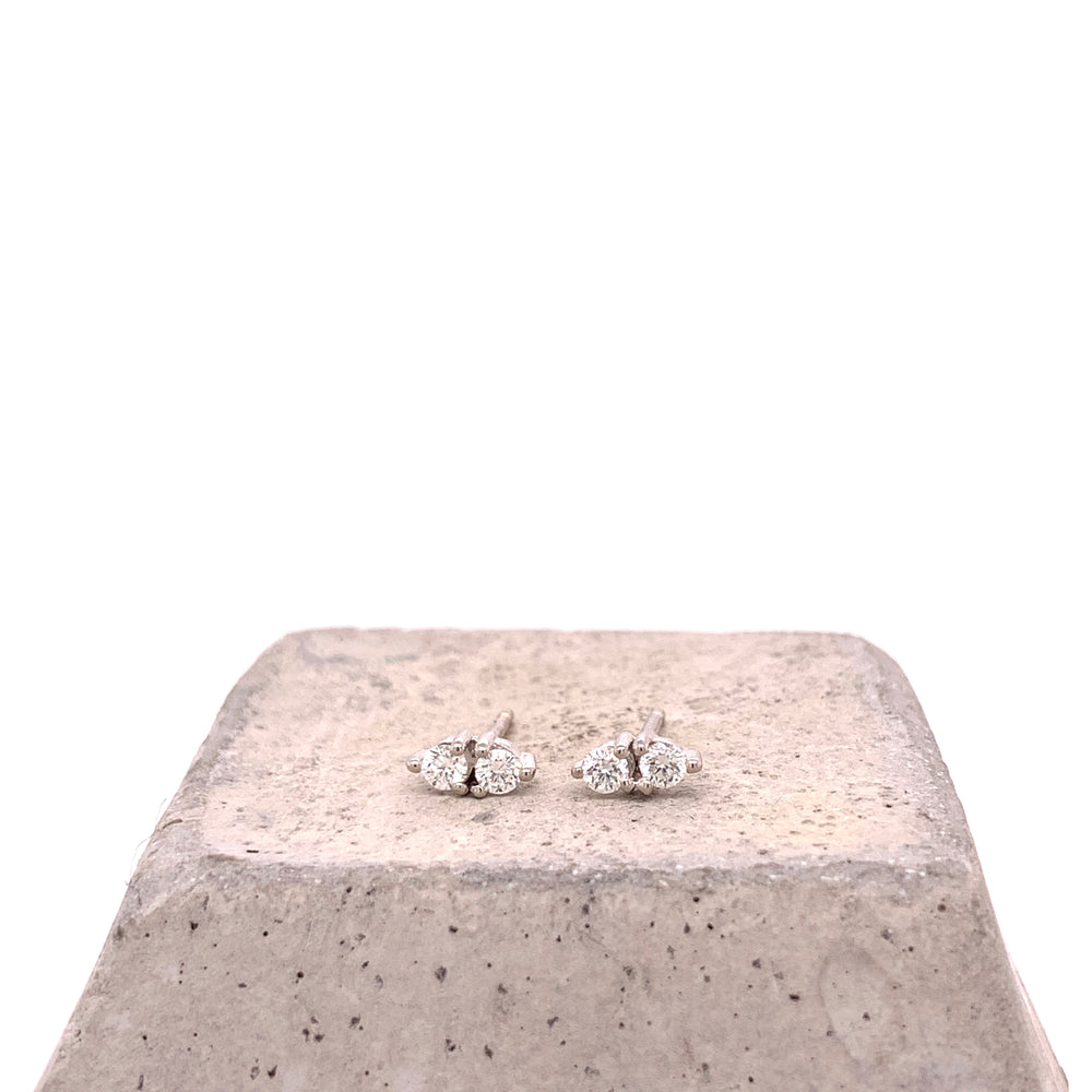Double Diamond Three Prong Stud Earrings - King + Curated