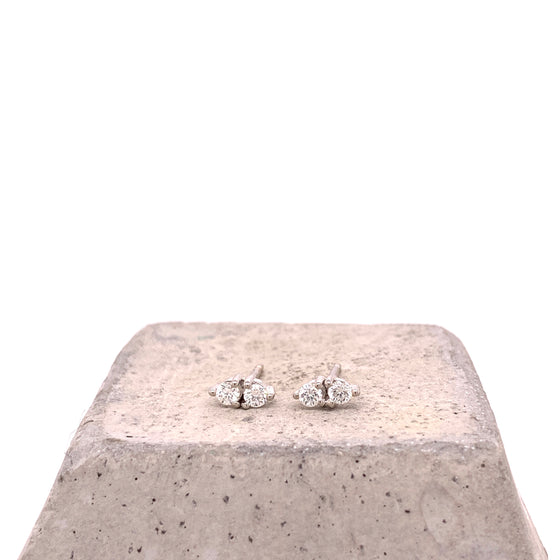 Double Diamond Three Prong Stud Earrings