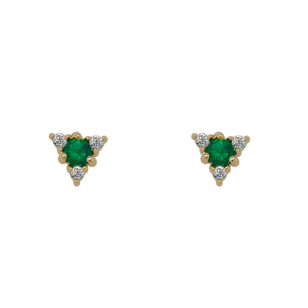 Front view of triangle shaped studs. Each stud has 1 round emerald in the center surrounded by 3 round diamonds. Each earring is set in solid 14 kt yellow gold.