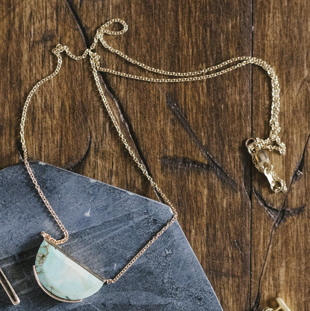 Half Circle, Genuine Turquoise Necklace - The Curated Gift Shop