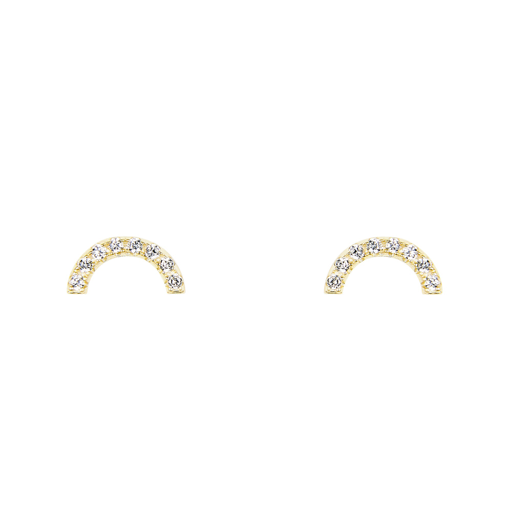 Half Circle Studs With Crystals - King + Curated