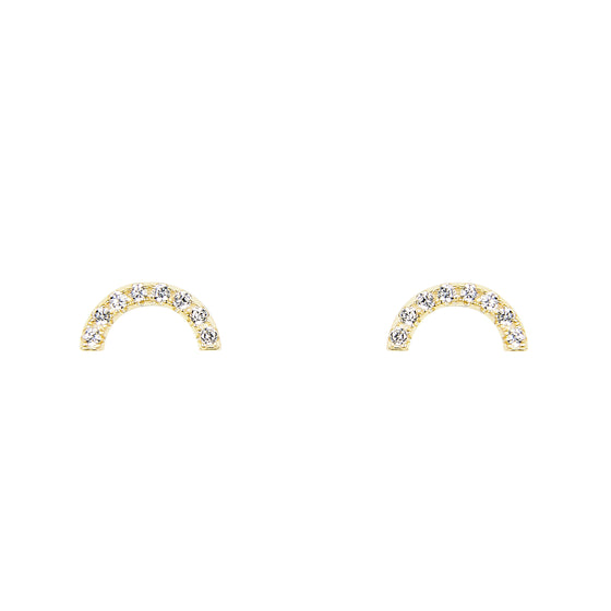 Half Circle Studs With Crystals