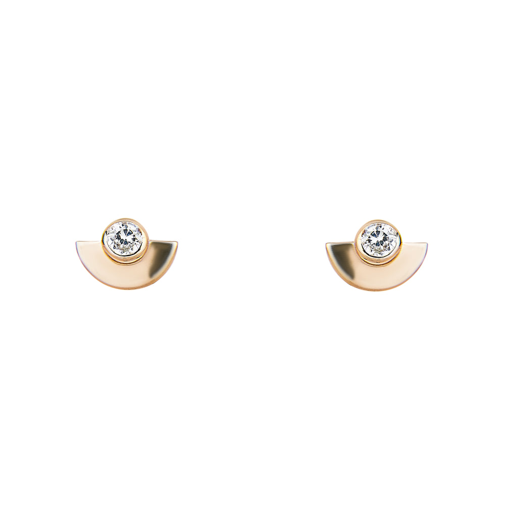 Half Moon Earrings With Single Crystals - King + Curated