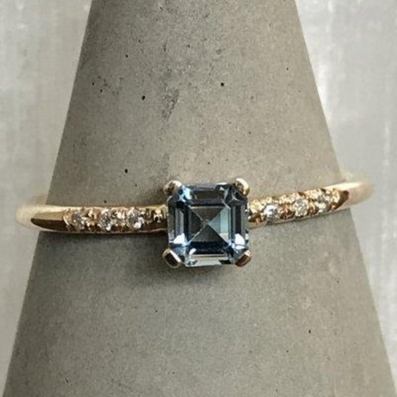 Aquamarine And Diamond Ring - The Curated Gift Shop