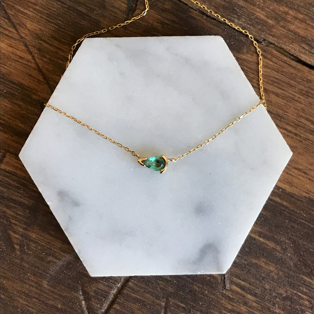 Pear Shaped, Green Emerald Necklace - The Curated Gift Shop