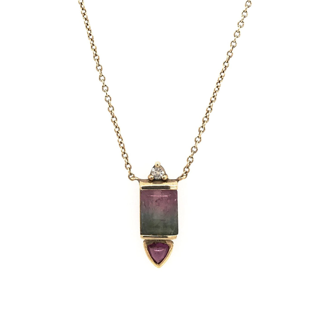 Watermelon Tourmaline, Rhodolite Garnet and Moonstone Necklace - King + Curated