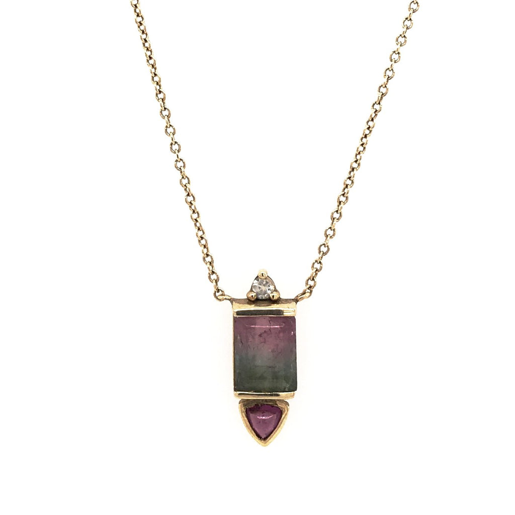 Watermelon Tourmaline, Rhodolite Garnet and Moonstone Necklace