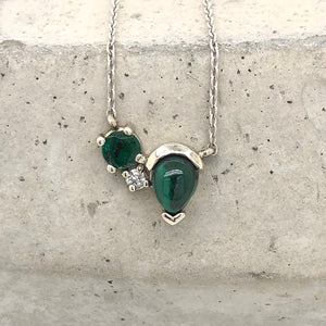 Load image into Gallery viewer, Malachite, Emerald, and Diamond Necklace - The Curated Gift Shop