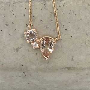 Load image into Gallery viewer, Morganite and Diamond Necklace - The Curated Gift Shop