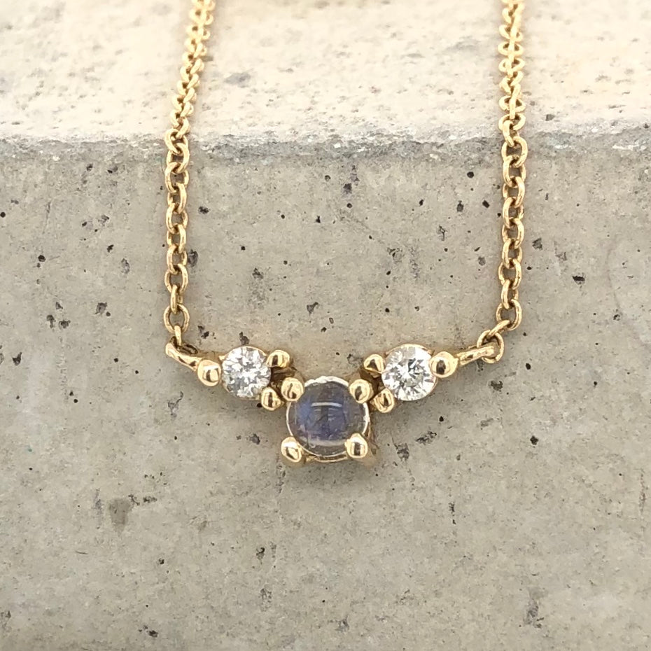 Moonstone Double Diamond Necklace - The Curated Gift Shop