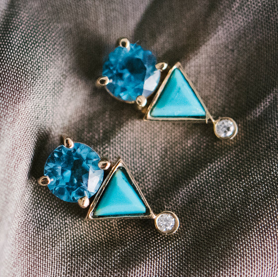 Aquamarine And Turquoise Diamond Earrings